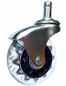 5x Roulettes Chaises de Bureau de BUROROLL – 63.5mm Roues souples en caoutchouc à tige Universelle de 11mm – Roulettes non-marquantes contre les sols dur et parquets – Argent de la marque image 0 produit