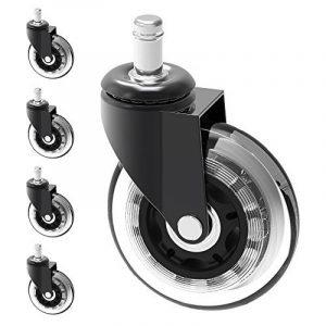 7,6cm Chaise Caster de roue de remplacement de protection rigide en sol | 5pcs Grande Heavy Duty PU Roulette caoutchouc Tapis de chaise Pied Taille: 11mm x 22mm (Caster _ 76mm) de la marque image 0 produit