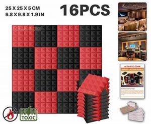 Ace Punch 16 Paquet 2 Combinaison de Couleurs PyramideMousse Acoustique Panneau Insonorisation Sonorisation Absorbeur Traitement avec Ruban Adhésif 20 x 20 x 5 cm Noir et Rouge AP1034 de la marque image 0 produit