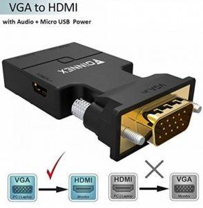 Adaptateur VGA vers HDMI avec audio, FOINNEX VGA HDMI Convertisseur Sortie AV 1080p pour TV, Ordinateur, Projecteur, Câble audio Câble Micro USB, Connecteur HD, Taille portable Plug and Play. de la marque FOINNEX image 0 produit