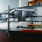 "AM23T Fully Adjustable Triple Arm LED LCD Desk Mount Bracket Stand Gaming Station for Three 16-27"" Screens with 45° Tilt, 180° Swivel & Height Level Adjustment (support de bureau pour moniteur) de la marque image 4 produit"