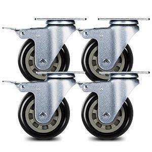 Antaprcis 4 Roulettes de Chaise 7,62 cm Pivotant Roues en Caoutchouc avec Frein Résistantes à l'Abrasion Noir de la marque image 0 produit