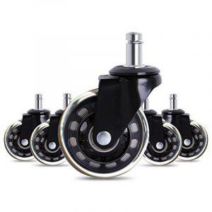 Antaprcis Lot de 5 Roulettes Chaise de Bureau de Style de Patinage 63,5mm Roues Universelles de Remplacement Résistantes à l'Abrasion Noir de la marque image 0 produit