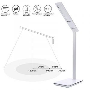 B-Right® Lampe de Bureau LED 5W, Lampe LED de Table avec 5V 3 Niveaux de Luminosité Ajustable Par Touche, Port USB de Recharge. Angle Réglable et Flexible à 360° (blanc et blanc chaud) de la marque image 0 produit