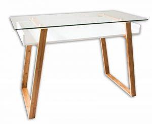 BonVIVO® Table bureau secrétaire MASSIMO moderne - Verre, bois naturel avec étagère blanc laqué - Design contemporain de la marque image 0 produit