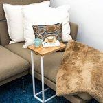 BonVIVO® Table d'appoint DONNA moderne - Acier inoxydable et bois naturel avec châssis en acier inoxydable blanc de la marque image 1 produit
