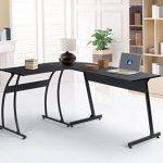 Bureau informatique Coin Coavas en forme de L Table portable en bois pour ordinateur Grand angle Station de travail pour domestique et bureau, noir de la marque image 5 produit