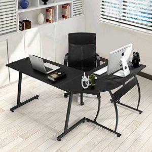 Bureau informatique Coin Coavas en forme de L Table portable en bois pour ordinateur Grand angle Station de travail pour domestique et bureau, noir de la marque image 0 produit