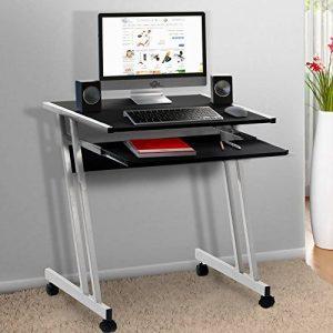 Bureau informatique meuble PC ordinateur Table Tiroir Rangement Noir Roulettes Chambre de la marque image 0 produit