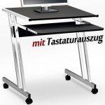 Bureau informatique meuble PC ordinateur Table Tiroir Rangement Noir Roulettes Chambre de la marque image 3 produit
