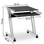 Bureau informatique meuble PC ordinateur Table Tiroir Rangement Noir Roulettes Chambre de la marque image 5 produit