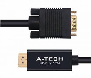 Càble vga à hdmi 1m est un connecteur plaqué or Càble Adaptateur HDMI vers VGA CE Càble VGA Support HDMI v1.3 HDMI - 1080p et compatible avec TV, projecteur en abs-noir de la marque KPA-tech image 0 produit