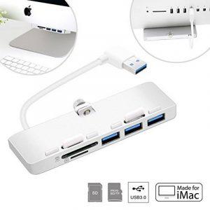 Cateck 3-Port USB 3.0 Hub Ultra-mince Aluminium de Qualité Supérieure avec Lecteur de Carte Combo SD/TF Spécialement Conçu Pour iMac Monocoque Mince (Version Améliorée) de la marque Cateck image 0 produit