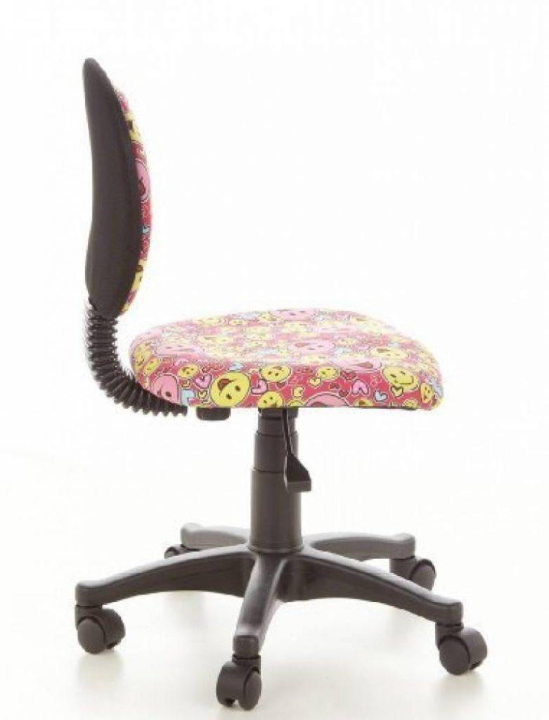 Hjh OFFICE 670165 Chaise De Bureau Enfant KIDDY TOP Rose Jaune Motif Smiley Sans Accoudoirs Dossier Ergonomique Rglable En Hauteur