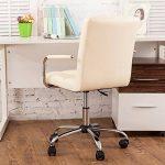 Chaise de bureau Sport avec Dossier Noir] Hollylilfe Chaise Ordinateur Exécutif 360 degrés réglable en Cuir Faux Hauteur réglable Flexible 45-60 cm pour le salon de coiffure, le bureau, le salon - Noir + Blanc de la marque image 2 produit