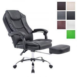 CLP Fauteuil bureau ergonomique CASTLE, fauteuil relax avec repose-pieds EXTENSIBLE et accoudoirs, poids admis 130 kg, réglable en hauteur 47 - 57 cm noir de la marque image 0 produit