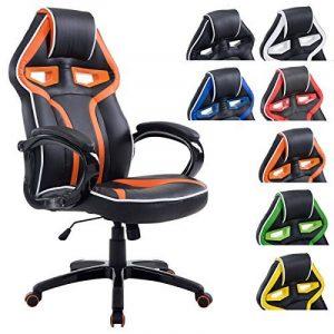 CLP Fauteuil de bureau racing SCHUMI en simili-cuir, chaise gaming, fauteuil de direction avec le mécanisme d'inclinaison, réglable en hauteur, poids admis max. 150 kg noir/orange de la marque image 0 produit