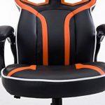 CLP Fauteuil de bureau racing SCHUMI en simili-cuir, chaise gaming, fauteuil de direction avec le mécanisme d'inclinaison, réglable en hauteur, poids admis max. 150 kg noir/orange de la marque image 5 produit