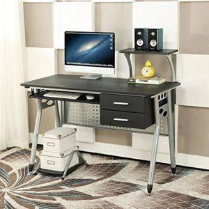 EBS Table de Bureau Meuble pour Ordinateur avec Support Clavier Coulissant & Tablette Imprimante (Noir) de la marque image 0 produit