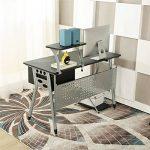 EBS Table de Bureau Meuble pour Ordinateur avec Support Clavier Coulissant & Tablette Imprimante (Noir) de la marque image 1 produit