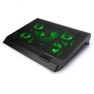 ENHANCE Support Refroidisseur PC Portable (40 x 32.4 cm) Refroidissement Rapide Equipé de 5 Ventilateurs avec LED Verts & 2 ports USB – Parfait pour Ordinateur Portable , Notebook de 17 Pouces de la marque Accessory Power image 0 produit
