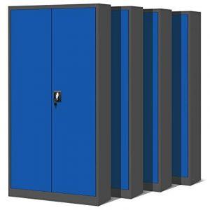 Ensemble de 4, classeur, armoire métallique, coffret en acier, en tôle d'acier, armoire à outils, armoire de bureau, armoire, placard universel, placard double porte 195 cm (anthracite/bleu) de la marque image 0 produit