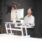 ER sain Sit-Stand Workstation Ordinateur de bureau | Réglable en hauteur permanent bureau | Montée et descente de dessus de table à divers postes pour ergonomique Comfort (Blanc) de la marque image 4 produit