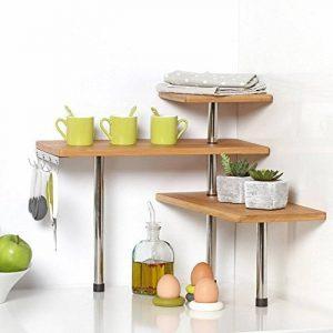 Etagère d'angle en bambou et inox - Cuisine - Salle de bain ou sur un bureau - Idéal pour gagner de la place de la marque image 0 produit