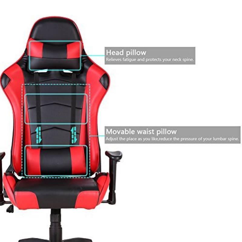 IWMH Racing Chaise De Bureau Siege Gaming Luxe Fauteuil Gamer Pro Assise Baquet Sport En Similicuir PU Hauteur Reglable Haute Doussier Inclinable 135