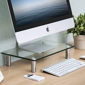 Fitueyes Support pour Réhausseur Ordinateur PC TV en Hauteur Réglable en Verre Trempé 38.5x24x7.6cm DT103801GC de la marque FITUEYES image 0 produit
