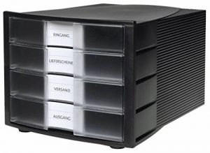 HAN 1010-X-363, module de classement IMPULS. Design innovant et attrayant de qualité supérieure. Comprend 4 tiroirs fermés avec étiquette d'indexation grand format. Noir/translucide clair de la marque image 0 produit