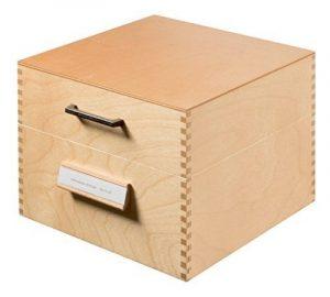 HAN 505, boîte à fiches en bois DIN A5 horiz., 900 fiches, fond métallique et séparateur métallique, bois naturel de la marque image 0 produit
