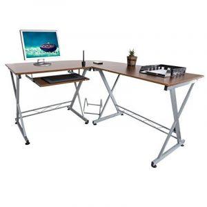 Harima - Bixby Professionnel D'angle / Poste de travail Informatique / Table Informatique Meuble de bureau pour ordinateur avec tablette coulissante porte-clavier Accueil PC de bureau - Noyer de la marque image 0 produit