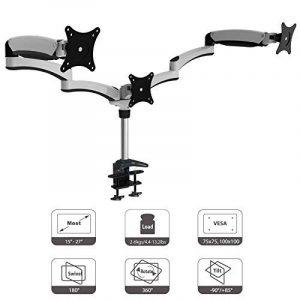 HFTEK® DS137S blanc Support de bureau pour 3 trois moniteur écran desk mount support de table pour Moniteur 15 - 27 pouces avec VESA 75 / 100 de la marque HFTEK image 0 produit