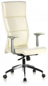 hjh OFFICE 600410 chaise de bureau, fauteuil de direction luxe MONZA 20 ivoire en cuir véritable avec accoudoirs, dossier ergonomique haut, piètement robuste en alu, réglable en hauteur, confortable de la marque image 0 produit