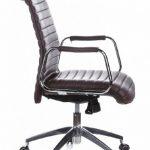 hjh OFFICE 600914 chaise de bureau, fauteuil de bureau à roulettes ASPERA 10 marron en cuir, siège pivotant haut de gamme avec accoudoirs, dossier moyen inclinable, design élégant et moderne, piètement robuste de la marque image 2 produit