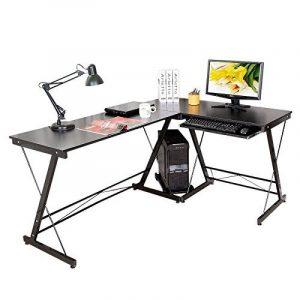 HLC Table Bureau Informatique Bureau d'Angle Ordinateur 161*120*73cm Noir-035 de la marque image 0 produit