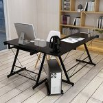 HLC Table Bureau Informatique Bureau d'Angle Ordinateur 161*120*73cm Noir-035 de la marque image 2 produit