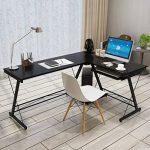 HLC Table Bureau Informatique Bureau d'Angle Ordinateur 161*120*73cm Noir-035 de la marque image 3 produit