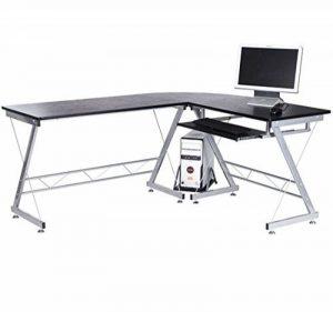 Homcom Bureau d'ordinateur d'angle pour la station de travail bureau à domicile robuste de meubles nouveaux PC Noir de la marque image 0 produit