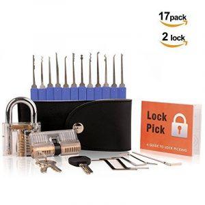 Kit pour Serruriers, Pootack Kit de Crochetage Lockpicking 17 Pièces en Acier Inox avec un Cadenas Transparent et Serrure à Double Cylindre pour Débutants et Professionnels avec un Étui en Cuir de la marque image 0 produit