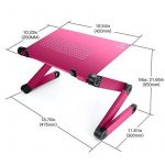 "LifeBasis Mini PC table de lit Tablette Plateau Support de lecture en aluminium alliage ajustable pliable inclinable pour ordinateur portable, Ultrabook jusqu'à 17"", livre et magazine - Rose de la marque LifeBasis image 4 produit"
