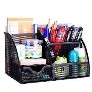 Meuble de rangement de fournitures de bureau VANRA en mailles métalliques, rangement des fournitures scolaires, meuble de rangement à 6compartiments avec tiroir noir de la marque image 0 produit