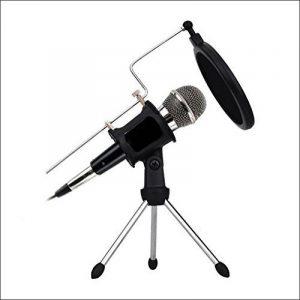 Microphone à Condensateur avec trépied Le Support pour PC, und Enregistrement Studio à la maison ,KTV Skype MSN Karaoké ,Réunion Portable Ordinateur ( jack de 3.5mm et adaptateur, 3.5/6.5mm) de la marque image 0 produit
