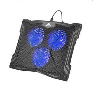 OUTAD Refroidisseur Réglable Support Portable PC - 3 Ventilateurs à LED bleu - Support Ventilé pour ordinateur portable Gaming 12-17 pouces (Bleu) de la marque image 0 produit