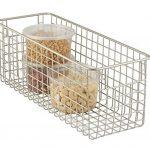 Panier de rangement mDesign en fil de fer pour cuisine, garde-manger, placard - moyen, profond, satin de la marque image 1 produit