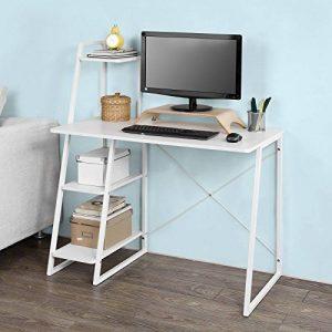 Promotion -17% ! SoBuy® FWT29-W Bureau informatique, Secrétaire Table plan de travail avec 3 étagères cadre métal -Blanc de la marque image 0 produit