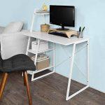 Promotion -17% ! SoBuy® FWT29-W Bureau informatique, Secrétaire Table plan de travail avec 3 étagères cadre métal -Blanc de la marque image 2 produit