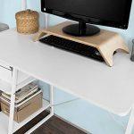 Promotion -17% ! SoBuy® FWT29-W Bureau informatique, Secrétaire Table plan de travail avec 3 étagères cadre métal -Blanc de la marque image 3 produit