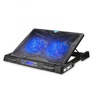 Refroidisseurs pc portable TeckNet pour ordinateur portable Gaming 12-17 pouces, équipé de 2 ports USB avec 2 ventilateurs silencieux de 130mm et l'affichage d'écran de la température et la vitesse de la marque image 0 produit